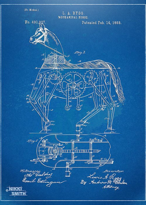 Bicycle Greeting Card featuring the digital art Mechanical Horse Toy Patent Artwork 1893 by Nikki Marie Smith
