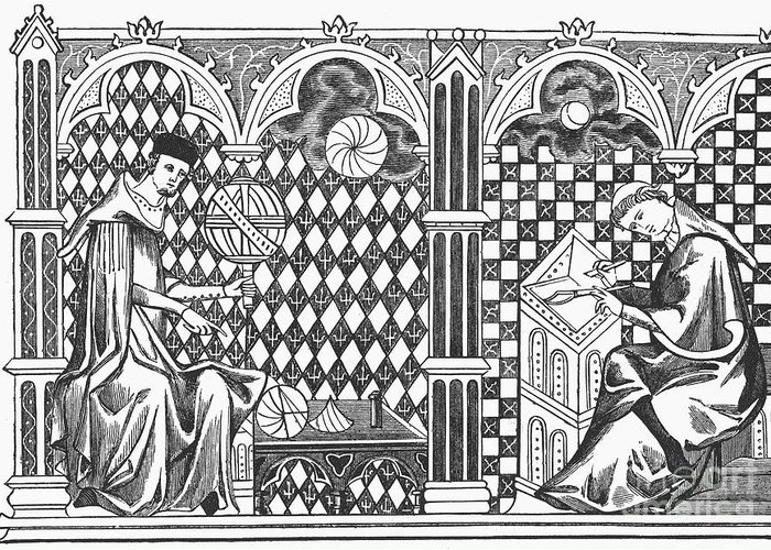 13th Century Greeting Card featuring the photograph Medieval Mathematicians by Granger