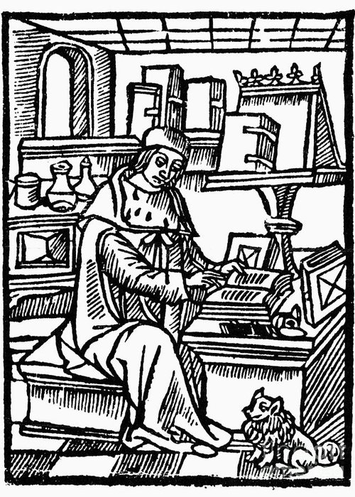 Medieval writer greeting card for sale by granger 15th century greeting card featuring the photograph medieval writer by granger m4hsunfo