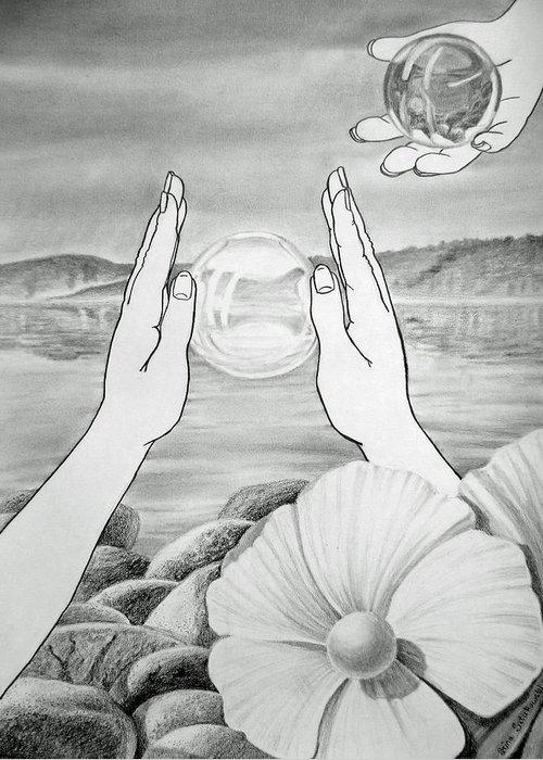 Glass Greeting Card featuring the drawing Meditation by Irina Sztukowski