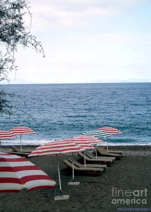 Beach Greeting Card featuring the photograph Mediterranean Beach Time by Anthony Novembre