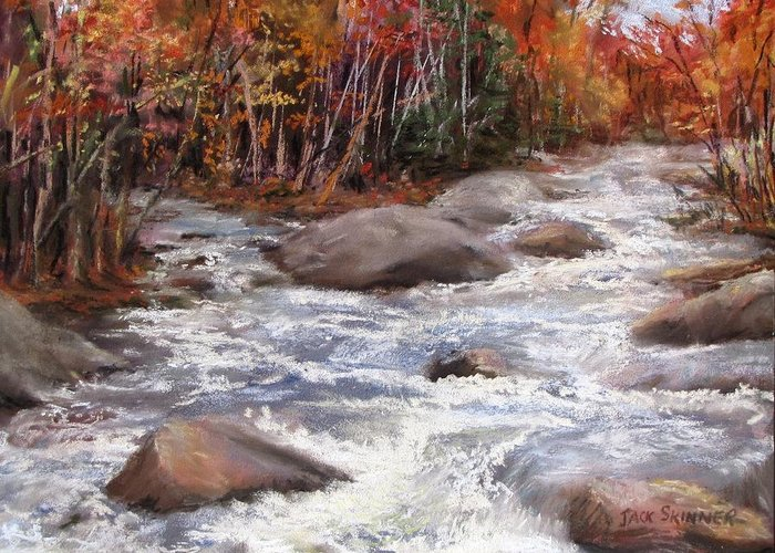 River Greeting Card featuring the painting Meeting Of The Waters by Jack Skinner