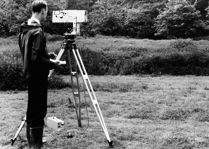 Human Greeting Card featuring the photograph Mekometre Surveying, 1967 by National Physical Laboratory (c) Crown Copyright