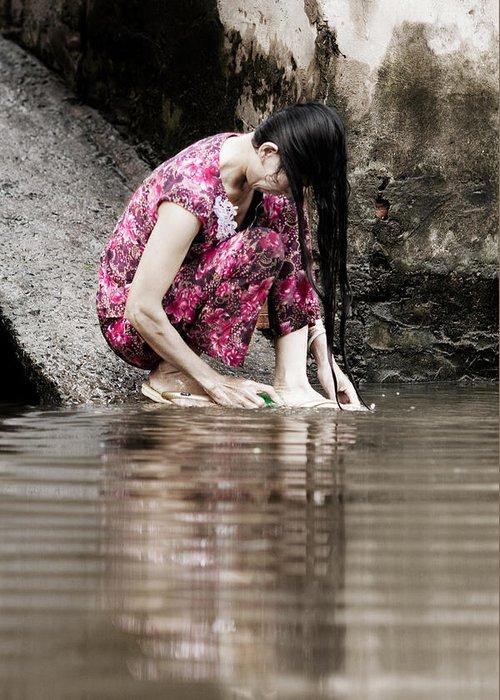 Mekong Delta Greeting Card featuring the photograph Mekong Delta Life by Iris Van den Broek
