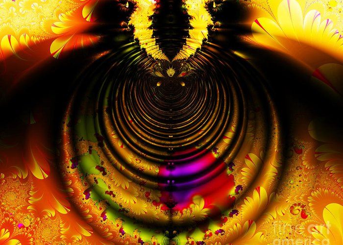 Fractal Greeting Card featuring the digital art Melting Pot . Gold . Horizontal Cut . S8a.s11 by Wingsdomain Art and Photography