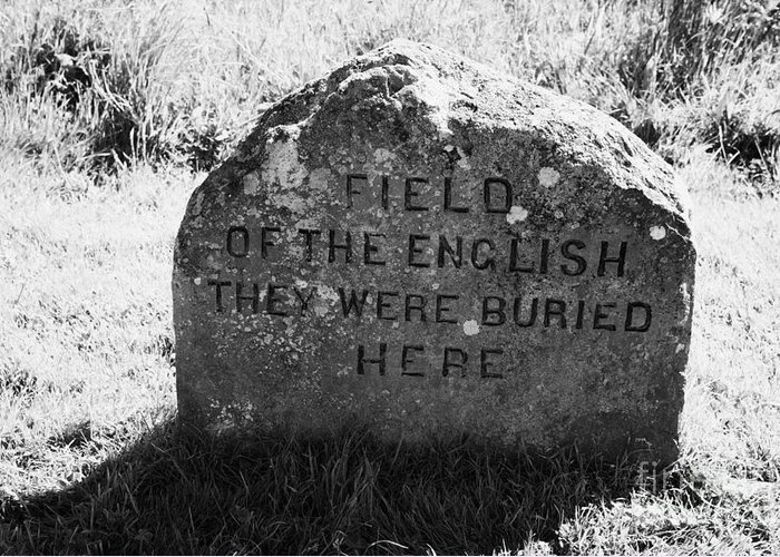Memorial Greeting Card featuring the photograph memorial stone for the dead english on Culloden moor battlefield site highlands scotland by Joe Fox