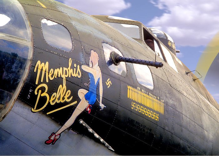 Warbird Greeting Card featuring the photograph Memphis Belle Noce Art B - 17 by Mike McGlothlen
