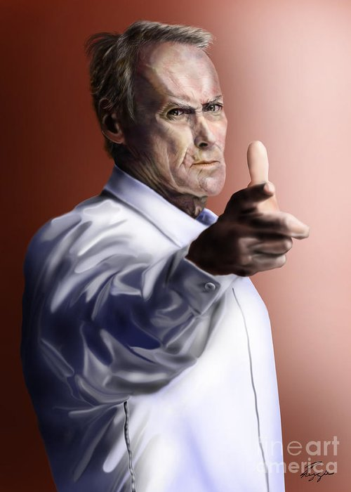 Dirty Harry Greeting Card featuring the painting Men Must Know Their Limitations-clint Eastwood by Reggie Duffie