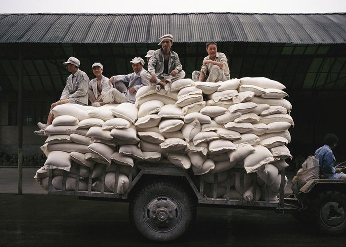 Medium Group Of People Greeting Card featuring the photograph Men Sit On Bags Of Flour by Justin Guariglia