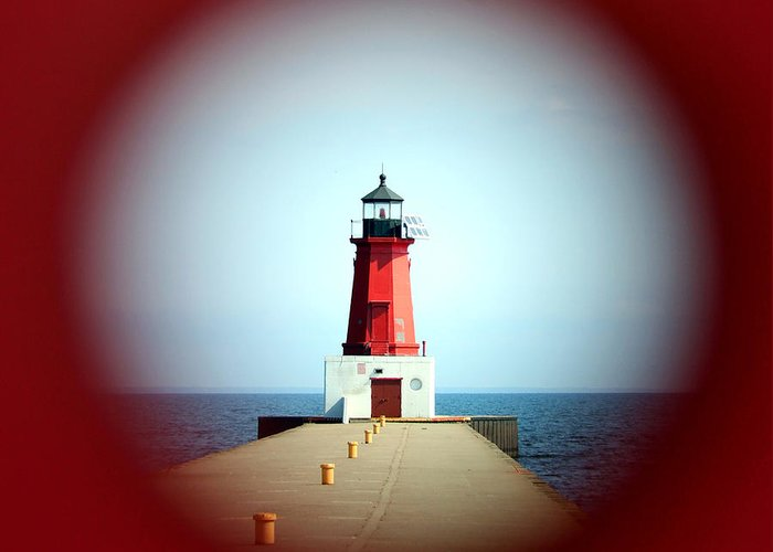 Menominee Lighthouse Greeting Card featuring the photograph Menominee Lighthouse Through A Rivet Hole by Mark J Seefeldt