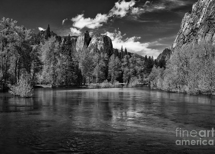 Travel Greeting Card featuring the photograph Merced River - Black And White by Hideaki Sakurai