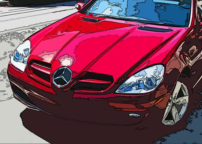 Mercedes Greeting Card featuring the photograph Mercedes Benz Slk Nose Study by Samuel Sheats