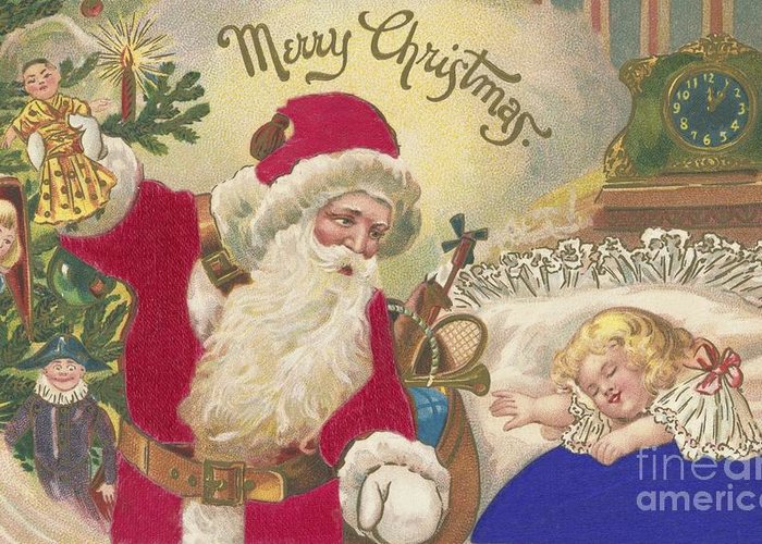 Christmas Card Greeting Card featuring the painting Merry Christmas by American School