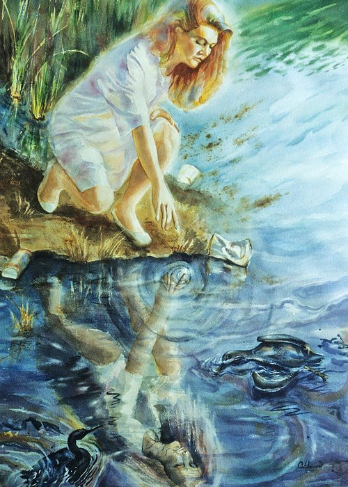 Landscape Greeting Card featuring the painting Message In The Water by Catherine Foster