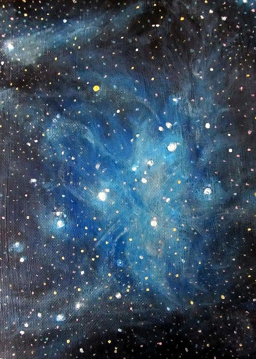 Space Greeting Card featuring the painting Messier 45 Pleiades Constellation by Alizey Khan