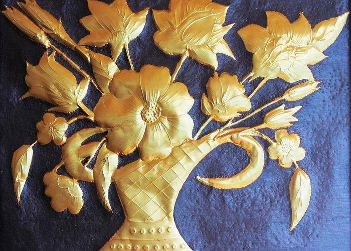 Flowers Greeting Card featuring the painting Metal Flowers by Rejeena Niaz