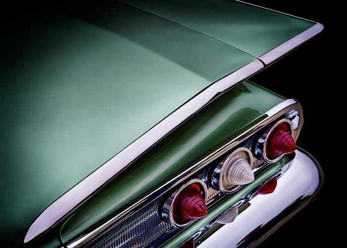 Classic Greeting Card featuring the digital art Metalic Green Impala Wing Vingage 1960 by Douglas Pittman