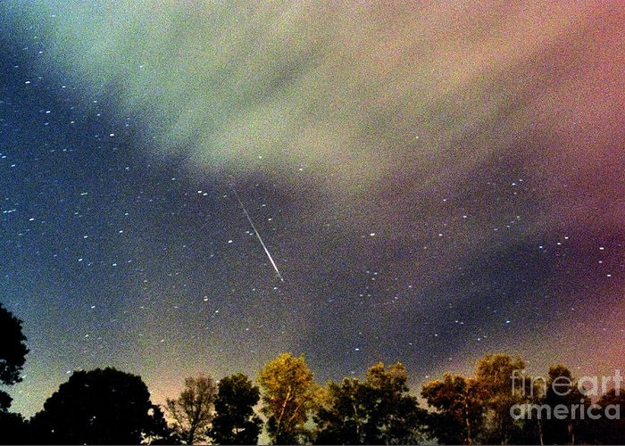 Meteor Greeting Card featuring the photograph Meteor Perseid Meteor Shower by Thomas R Fletcher