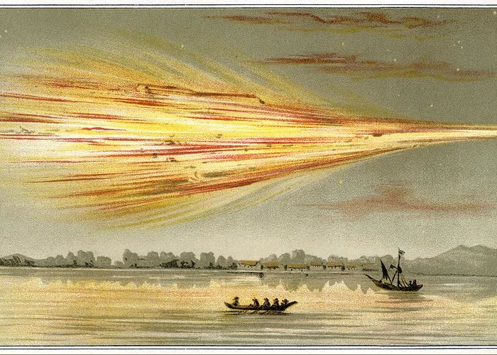 Human Greeting Card featuring the photograph Meteorite Explosion, Historical Artwork by Detlev Van Ravenswaay