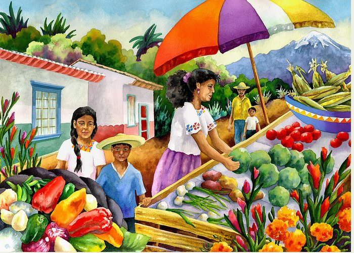 Marketplace Painting Greeting Card featuring the painting Mexican Marketplace by Anne Gifford