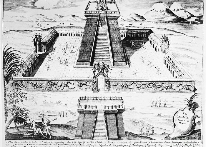 1765 Greeting Card featuring the photograph Mexico: Aztec Temple, 1765 by Granger