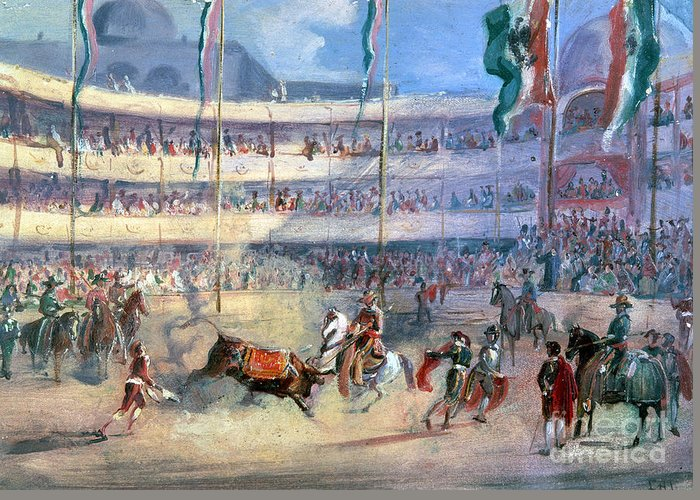 1833 Greeting Card featuring the photograph Mexico: Bullfight, 1833 by Granger