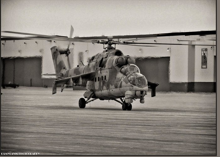 Helicopter Greeting Card featuring the photograph Mi-24 Hind D by Lamyl Hammoudi