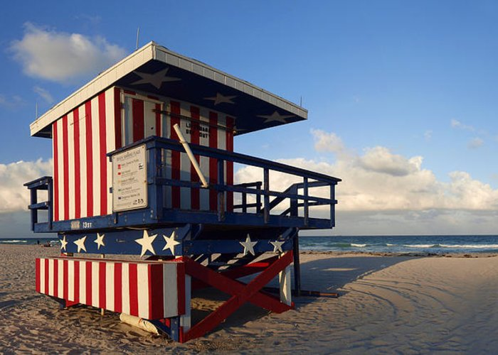 Information Greeting Card featuring the photograph Miami Beach Watchtower by Melanie Viola
