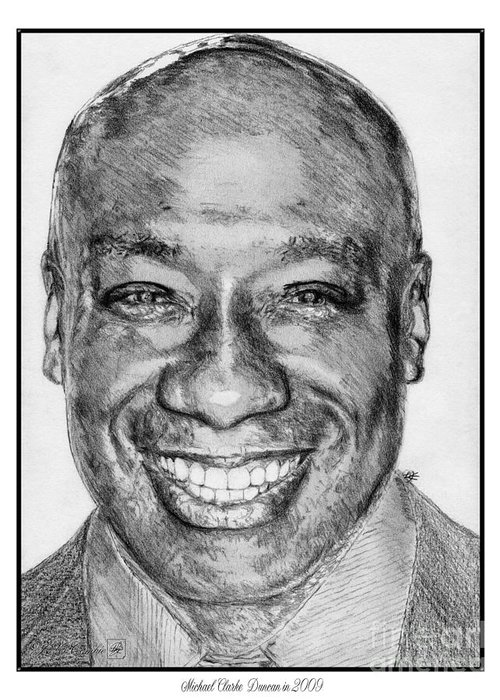 Michael Clarke Duncan Greeting Card featuring the drawing Michael Clarke Duncan In 2009 by J McCombie