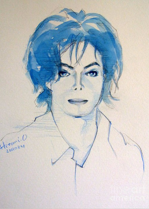 Michael Jackson Greeting Card featuring the painting Michael Jackson - Gimme Your Wings by Hitomi Osanai