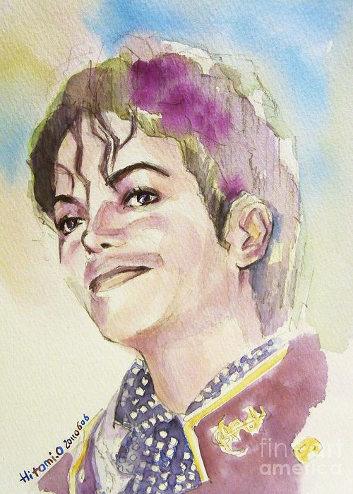 Michael Jackson Greeting Card featuring the painting Michael Jackson - Mike by Hitomi Osanai