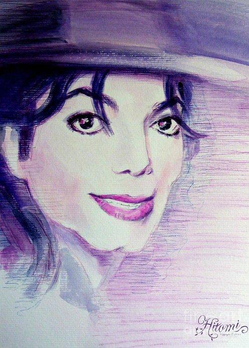 Michael Jackson Greeting Card featuring the painting Michael Jackson - Purple Fedora by Hitomi Osanai