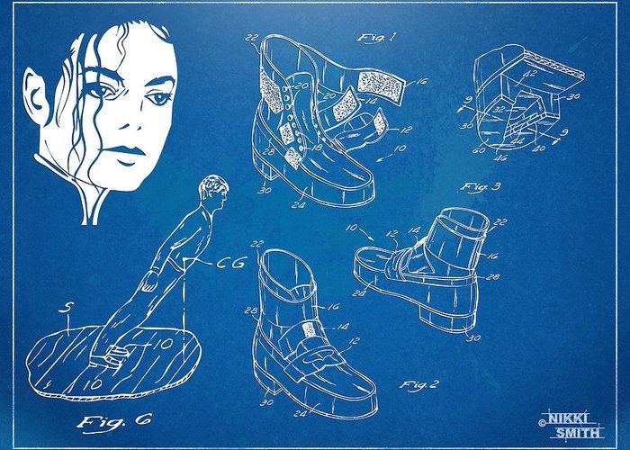 Michael Jackson Greeting Card featuring the digital art Michael Jackson Anti-gravity Shoe Patent Artwork by Nikki Marie Smith