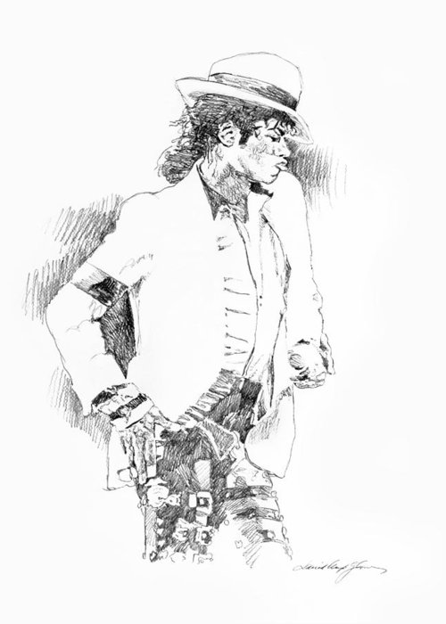 Michael Jackson Drawing Greeting Card featuring the painting Michael Jackson Attitude by David Lloyd Glover