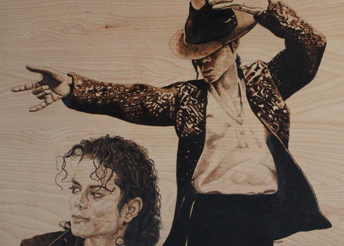 Michael Greeting Card featuring the pyrography Michael Jackson by Michael Garbe