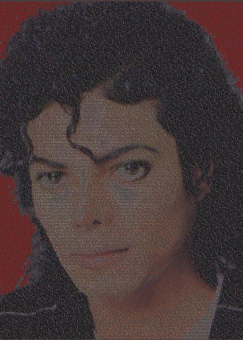 Mj Greeting Card featuring the digital art Michael Jackson Songs Mosaic by Paul Van Scott
