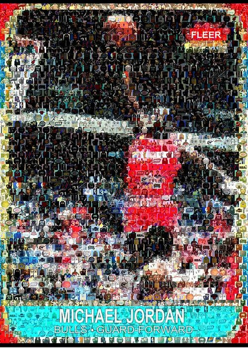 Michael Jordan Greeting Card featuring the digital art Michael Jordan Rookie Mosaic by Paul Van Scott