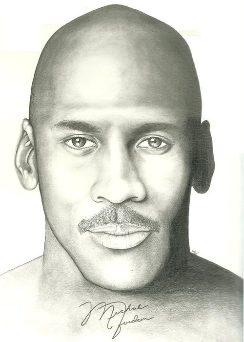 Michael Jordan Greeting Card featuring the drawing Michael Jordan by Scott Williams