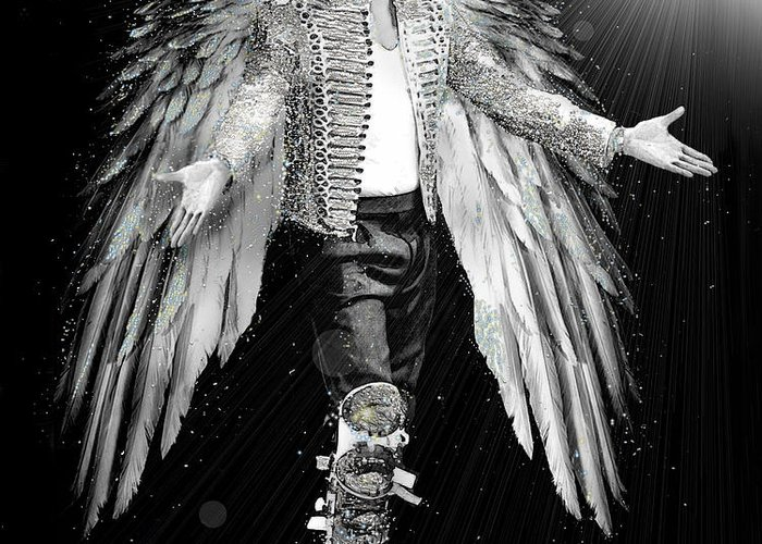 Michael Jackson Greeting Card featuring the digital art Michael King Of Angels by Karine Percheron-Daniels