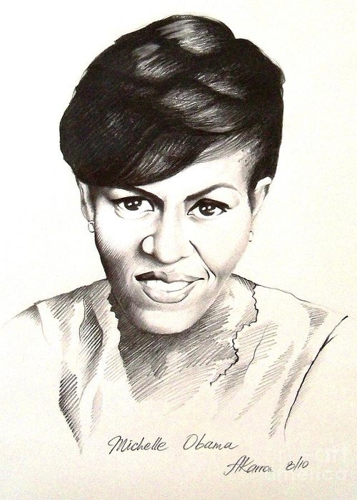 Portrait Greeting Card featuring the painting Michelle Obama by A Karron