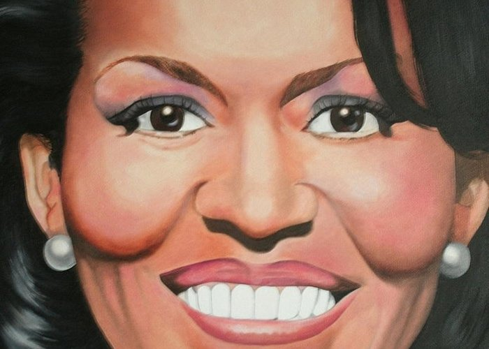 Michelle Obama Greeting Card featuring the painting Michelle Obama by Timothe Winstead