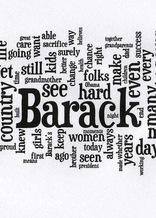 Michelle Obama Greeting Card featuring the photograph Michelle Obama Wordcloud At D N C by David Bearden