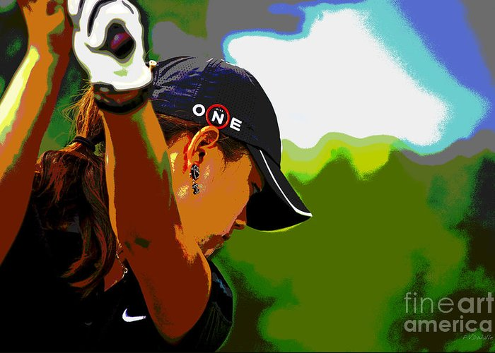 Michelle Wie Greeting Card featuring the photograph Michelle Wie by Pascale Vandewalle