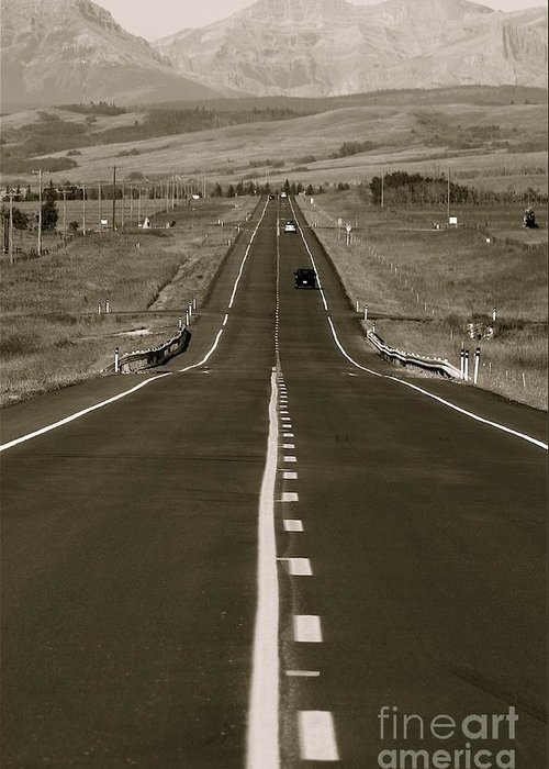 'roads Greeting Card featuring the photograph Middle Of The Road by David Hubbs