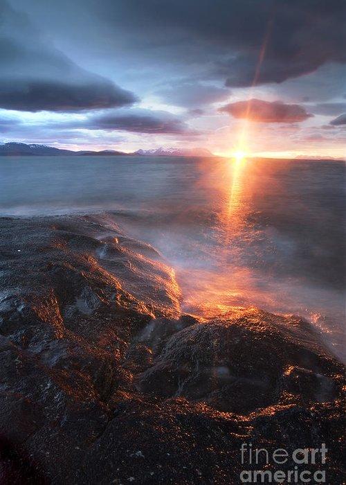 Bratteberget Greeting Card featuring the photograph Midnight Sun Over Vågsfjorden by Arild Heitmann
