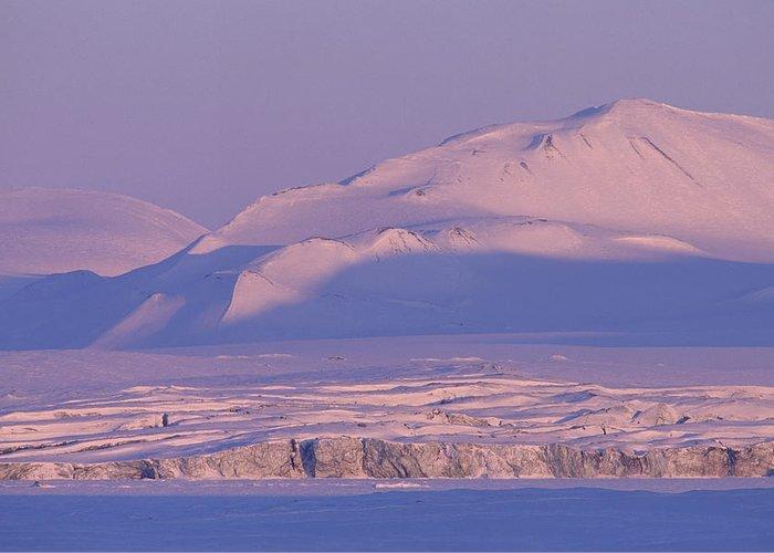 Spitsbergen Greeting Card featuring the photograph Midnight Sunlight On Polar Mountains by Gordon Wiltsie