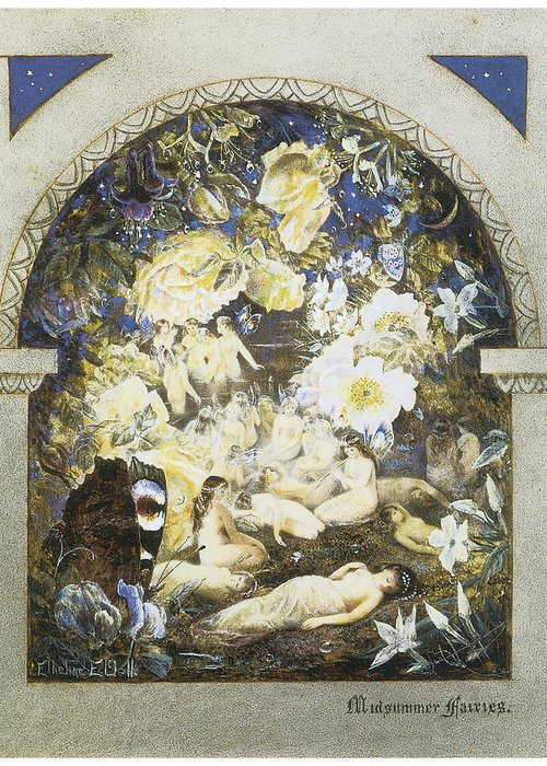 Etheline Dell Greeting Card featuring the painting Midsummer Fairies by Etheline Dell