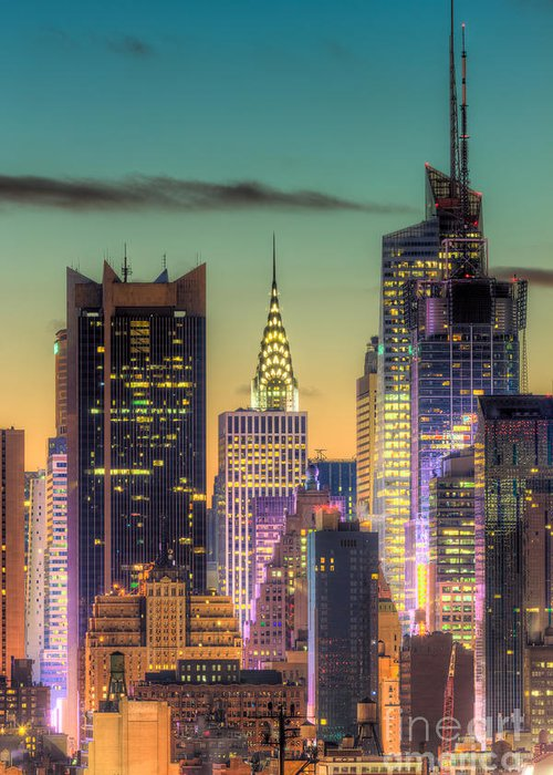 Clarence Holmes Greeting Card featuring the photograph Midtown Buildings Morning Twilight by Clarence Holmes