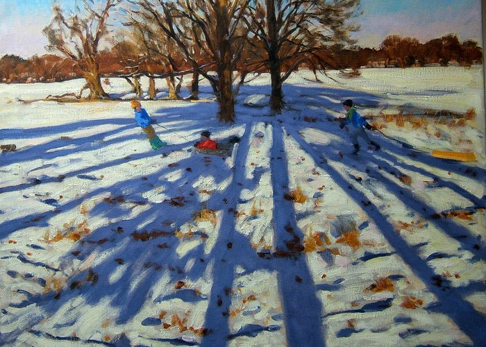 Sledging Greeting Card featuring the painting Midwinter by Andrew Macara