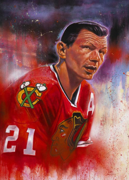 Chicago Blackhawks Greeting Card featuring the painting Mikita by Gary McLaughlin